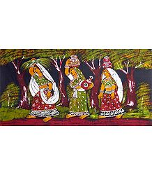 Women Going to Fetch Water - Batik Painting