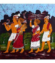 Farmer Couples Returning from Fieids - Batik Painting