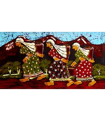 Tea Pluckers - Batik Painting