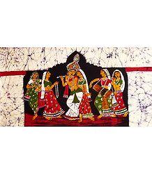 Raas Yatra of Radha Krishna - Batik Painting
