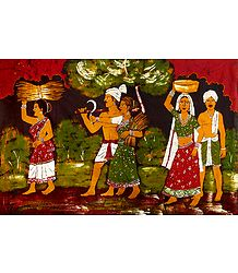 Village Farmers - Batik Painting