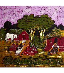 Indian Potter - Batik Painting