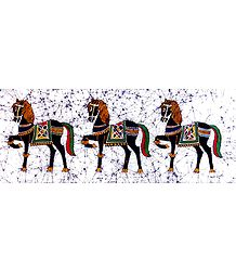 3 Royal Horses - Batik Painting