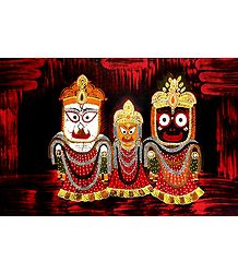 Jagannath, Balaram, Subhadra - Batik Painting on Cloth
