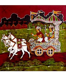 Krishna and Arjuna in a Chariot - Batik Painting on Cloth
