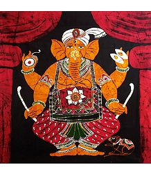 Lord Ganesha Playing Drum - Batik Painting on Cloth