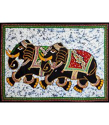 Pair of Royal Elephants - Printed Batik