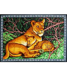 Lioness with Cub - Print on Cloth