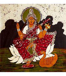 Goddess Saraswati - Batik Painting