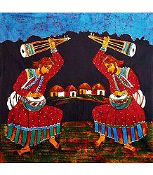 Pair of Baul Singers - Batik Painting on Cloth
