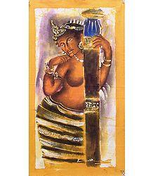 Beautiful Woman from Ajanta Cave Paintings