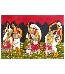 Indian Folk Dancers - Batik Painting on Cotton Cloth