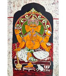 Lord Ganesha Sitting on Throne - Batik Wall Hanging
