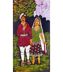 Gujrati Couple - Batik Painting