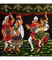 Indian Folk Dancers - Batik Painting