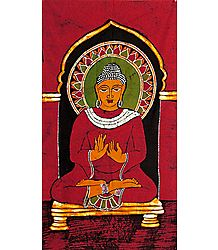 Lord Buddha - Batik Painting on Cotton Cloth