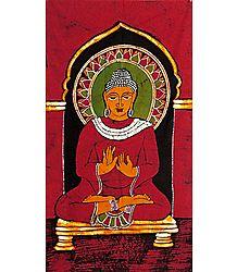 Lord Buddha - Batik Painting on Cotton Cloth