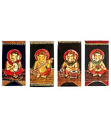 Musician Ganesha - (Set of Four)