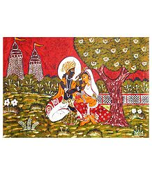 Radha Krishna - Batik Painting on Cloth