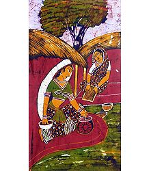Village Women Doing Daily Cores - Batik Painting
