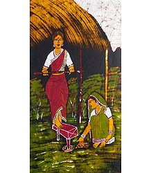 Indian Village Women - Batik Painting