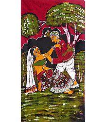 Shakuntala and Dushyanta - Batik Painting