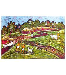 Farming Village in Bengal - Batik Painting