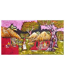 The Basket Weaver's Family - Batik Wall Hanging