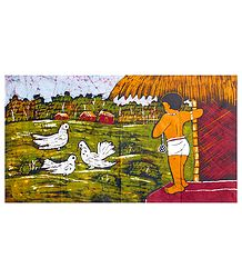 Village Boy Gazing at Pigeons - Batik Wall Hanging