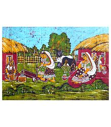 Daily Chores for Village Women - Batik Painting