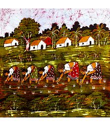 Village Women Planting Rice Paddy