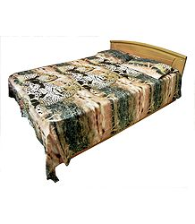 Glace Cotton with Leopard Print 3D Double Bedspread with Two Pillow Covers