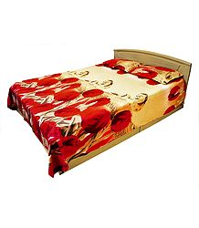 Glace Cotton with Red Tulips and Lion Print 3D Double Bedspread with Two Pillow Covers