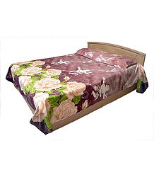 Floral Design on Glazed Cotton Double Bedspread with 2 Pillow Covers