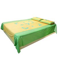 Appliqued and Embroidered Grapes on Yellow and GreenCotton Double Bedspread with Pillow Covers