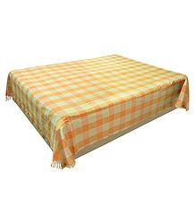Yellow and Saffron Check Cotton Double Bedspread