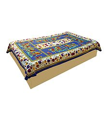 King on Elephant with Floral Print on Blue Cotton Single Bedspread