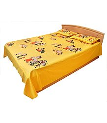 Chhota Bhim Print Yellow Cotton Double Bedspread with Two Pillow Covers