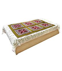 Gujrati Embroidery and Olive Green Cloth Patch on Off-White Cotton Single Bedspread