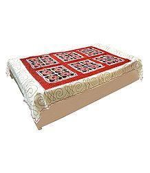 Gujrati Embroidery and Red Cloth Patch on Off-White Cotton Single Bedspread