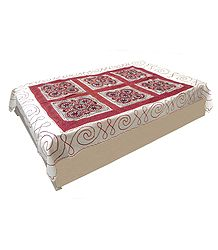 Gujrati Embroidery and Kumkum Red Cloth Patch on Off-White Cotton Single Bedspread