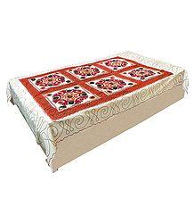 Gujrati Embroidery and Saffron Cloth Patch on Off-White Cotton Single Bedspread
