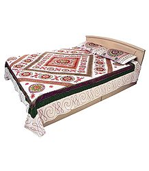 Gujrati Embroidery and Green Cloth Patch on Off-White Cotton Double Bedspread with Two Pillow Covers