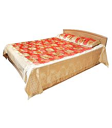 Glace Cotton with Satin Finish Floral Double Bedspread with Two Pillow Covers