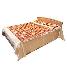 Glace Cotton Floral Double Bedspread with Two Pillow Covers