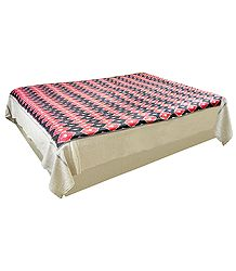 Red, Black and Off-White Hand-Woven Ikkat Design Double Bedspread