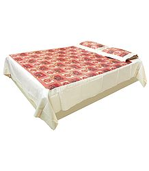 Printed Flowers on Satin finish Cotton Double Bedspread with Pillow Covers
