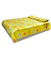 Saffron and White Print on Yellow Cotton Double Bedspread with Pillow Cover