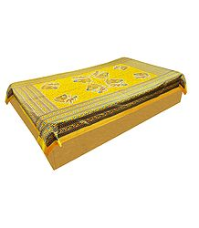 Print on Yellow Cotton Single Bedspread