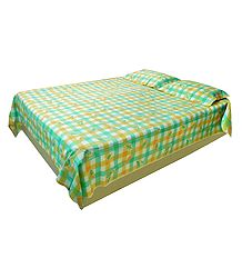 Green and Yellow Check Cotton Double Bedspread with Pillow Cover